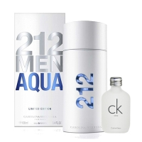 【Carolina Herrera】212 MEN AQUA 男性淡香水 100ML 搭贈 CK ONE 15ml