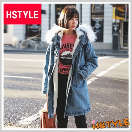 【HSTYLE】鋪棉衣 毛領收腰牛仔鋪棉長外套LZ8115-創翊韓都(鋪棉衣 毛領收腰牛仔鋪棉長外套LZ8115-創翊韓都)