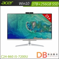 【加碼贈★】acer Aspire C24-860 i5-7200U All-In-One 桌上型電腦(23.8吋非觸控/8G/1TB+256G SSD/Win10)-送HP事務機